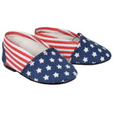 18 inch doll shoes - Red, White, and Blue Flats