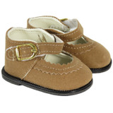 American Girl doll shoes - Light Brown Suede Mary Janes