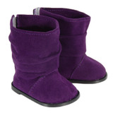 Purple slouch boots with Velcro closures in back.