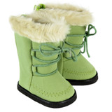 Green Boots with Fur for 18 inch American Girl dolls.