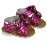 Metallic Purple Sandals with Flowers for 18 inch American Girl Doll Clothes
