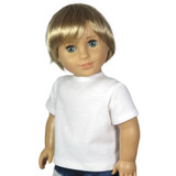White t-shirt for 18 inch boy dolls.