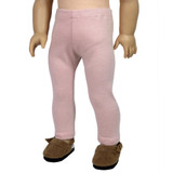 Dusty pink knit leggings for 18 inch AG dolls.