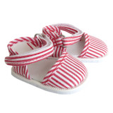J51.  Red and White Striped Strap Shoes