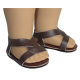 O19.  Brown Slip-On Cross Sandals