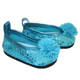 Y76.  Turquoise Sequin and Flower Flats