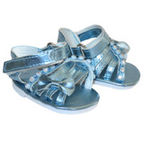 O84.  Blue Metallic Bow Sandals