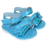 O79.  Turquoise Sequin Sandals