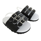 O36.  Black Three-Strap Sandals