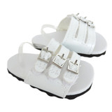 American Girl doll sandals in white.