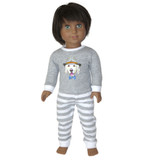 American Boy doll clothes - gray hipster dog pajamas.