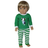 American Boy doll clothes - green dog pajamas