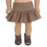 Brown ruffle skirt for 18 inch American Girl dolls.
