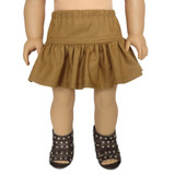 V14B.  Camel Brown Ruffle Skirt.