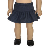 V91.  Navy Tiny Plaid Ruffle Skirt.