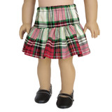 V54.  Red and Green Plaid Ruffle Skirt.