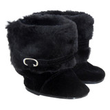 K46.  Black Furry Boots with Buckles.