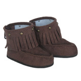 K27B.  Brown Ankle Moccasin Fringe Boots