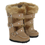 K16.  Above-Knee Tan 3-Strap Boots