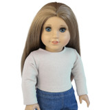 Pale gray crop top for 18 inch American Girl doll.  Made in USA by Silly Monkey Doll Clothes.