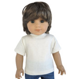 Cream tee for 18 inch American Boy or Girl doll.  Made in USA by Silly Monkey Doll Clothes.