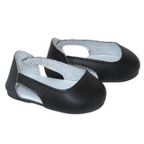 """Fits: 18"""" dolls like American Girl doll Includes: shoes Matte black slip-on shoes with cut outs."""
