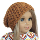 H20.  Camel Brown WOOL Crochet Slouch Beanie.