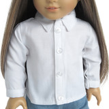 """Fits 18"""" dolls  Includes: shirt  White cotton shirt with long sleeves, decorative buttons, Velcro closure in front and on cuffs."""