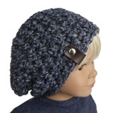 18 inch indigo blue crochet beanie hat for 18 inch girl and boy dolls.