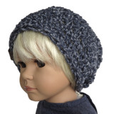 18 inch indigo blue crochet beanie hat for 18 inch girl and boy dolls.
