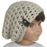 H05.  Oatmeal Slouchie Beanie with Pleather Tag