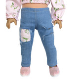 """P86.  Light denim distressed jeans with pink floral patches for 18"""" dolls."""