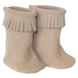 Sweet boho fringe moccasin boots for 18 inch American Girl doll.