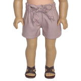Smoky mauve pink paper bag shorts for 18 inch AG dolls.