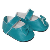 """Fits 18"""" dolls Includes: shoes Matte turquoise Mary Janes with Velcro straps and bows."""