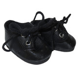 Black casual shoes for 18 inch American Boy doll.