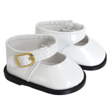 White Mary Janes shoes for 18 inch American Girl dolls.