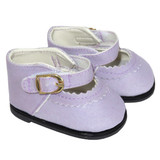 Lavender Mary Janes shoes for 18 inch American Girl doll.