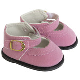 Fits 18 inch American Girl doll.   Lavender suede Mary Janes with Velcro straps and decorative gold buckles.