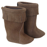 """Fits: 18"""" dolls like American Girl doll  She'll love the boho charm of these brown suede boots with fringe.  Velcro closure in back."""