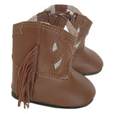 """Fits: 18"""" dolls like American Girl doll  Includes: boots  She'll love the boho charm of these brown suede boots with fringe.  Velcro closure in back."""