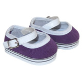 Purple Mary Jane sneakers for 18 inch American Girl dolls.
