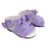 """Fits: 18"""" American Girl dolls  Includes: shoes  Matte purple sandals with heart cut-outs.  Decorative buckles and Velcro strap closures."""