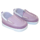 """Fits: 18"""" American Girl or Boy doll  Includes: shoes  Lavender sporty slip-on shoes."""