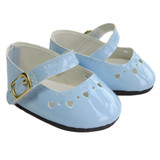 Fits: 18 inch American Girl doll  Includes: shoes  Light blue patent Mary Janes with heart cut-outs and Velcro straps.