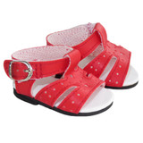 """Fits: 18"""" American Girl dolls  Includes: shoes  Red sandals with heart cut-outs.  Decorative buckles and Velcro strap closures."""