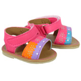 Fits: 18 inch American Girl doll  Includes: shoes  Fun sandals in neon pink, orange, turquoise, and purple.  Velcro straps.