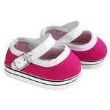 Fits: 18 inch American Girl doll  Includes: shoes  Dark pink canvas Mary Jane sneakers with buckle straps.