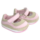 Fits: 18 inch American Girl doll  Includes: shoes  Light pink, hot pink, and tan Mary Jane sneakers with Velcro straps.