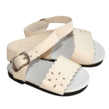 Fits: 18 inch American Girl doll  Cream sandals with floral cut outs and functional buckles.